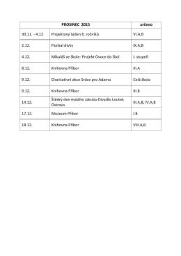 PROSINEC 2015 určeno 30.11. - 4.12 Projektový týden 6. ročníků VI