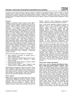 Dohoda o rámcových obchodních podmínkách pro produkty