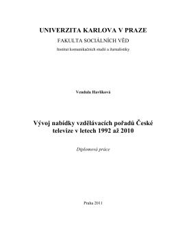 Vývoj nabídky vzdělávacích pořadů České