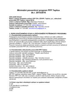 Minimální preventivní program PPP Teplice šk.r. 2015/2016