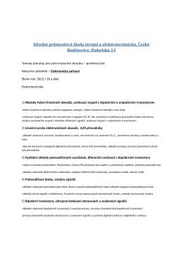 Maturitnà okruhy EZ - Střední průmyslová škola strojní a