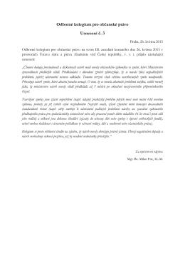 Odborné kolegium pro občanské právo Usnesení č. 3
