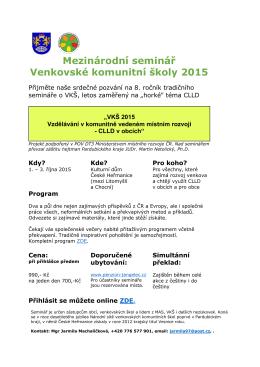 Mezinárodní seminář Venkovské komunitní