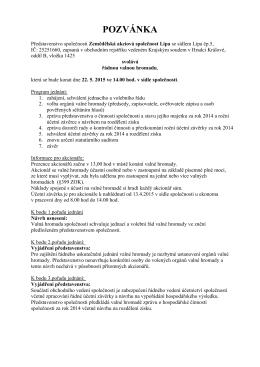 POZVÁNKA - Zemědělská akciová společnost Lípa