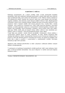 Informace pro pacienta www.epitesty.cz PARFÉMOVÁ SMĚS II