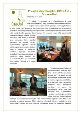 Poradní sbor Projektu ČIŘIKÁNÍ - 3. zasedání