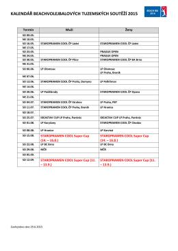 Kalendář turnajů zde