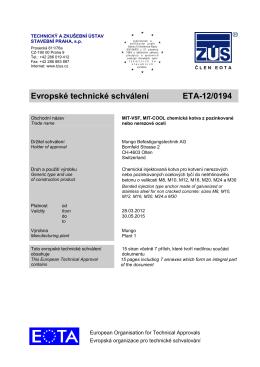 Evropské technické schválení ETA-12/0194