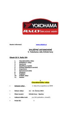 ZVLÁŠTNÍ USTANOVENÍ - Rallye Orlické Hory