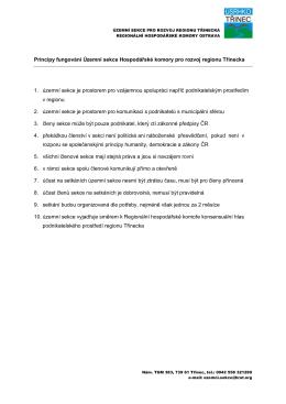 Principy fungování Územní sekce Hospodářské komory pro rozvoj
