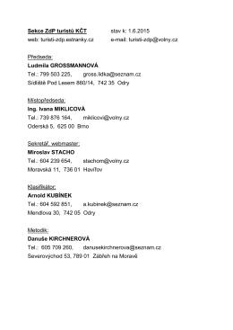 Sekce ZdP turistů KČT stav k: 1.6.2015 web: turisti