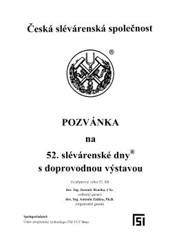 Ceská slévárenská společnost POZVANKA na 52. slévárenské dny