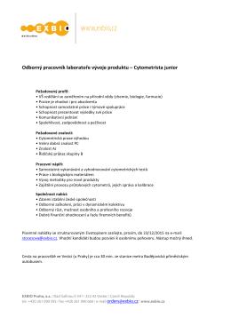 Odborný pracovník laboratoře vývoje produktu – Cytometrista junior