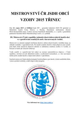 MISTROVSTVÍ ČR JSDH OBCÍ VZOHV 2015 TŘINEC