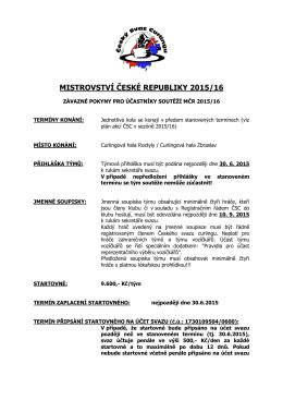 MISTROVSTVÍ ČESKÉ REPUBLIKY 2015/16