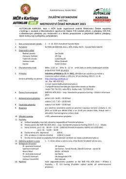 ZVLÁŠTNÍ USTANOVENÍ MISTROVSTVÍ ČESKÉ REPUBLIKY 2015