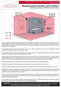 Bezpečnostní instrukce při instalaci