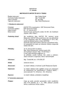 Propozice - Unitop ČR