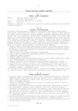 - 1 – Stanovy Asociace českých nábytkářů čl. 1 Název, sídlo a
