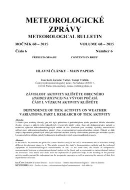 Časopis Meteorologické zprávy - Český hydrometeorologický ústav