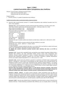 Zápis č. 7/2015 z jednání kontrolního výboru Zastupitelstva obce