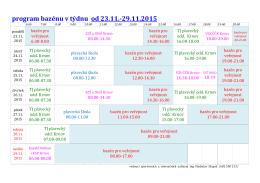 program bazénu v týdnu od 23.11.