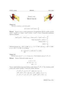 Vzorové řešení 3. série XVIII. ročníku