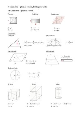 5. Geometrie - přehled vzorců, Pythagorova věta