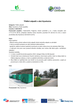 Třídění odpadů v obci Kyselovice