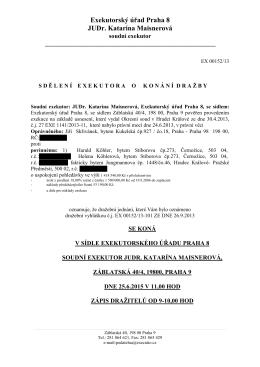 Exekutorský úřad Praha 8 JUDr. Katarína Maisnerová