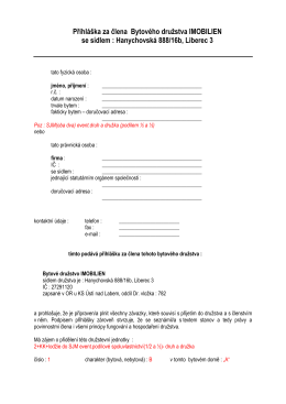 Přihláška za člena Bytového družstva IMOBILIEN