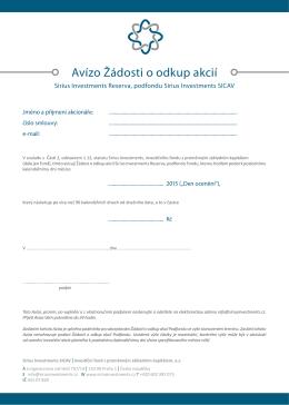 Avízo Žádosti o odkup akcií