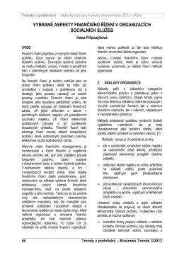 vybrané aspekty finančního řízení v organizacích sociálních služeb