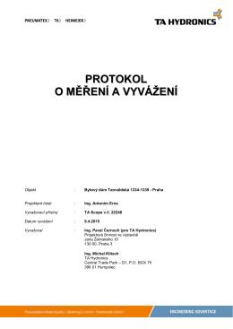 Protokol o měření a vyvážení topné soustavy