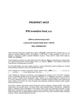 PROSPEKT AKCIÍ IFIS investiční fond, a.s.