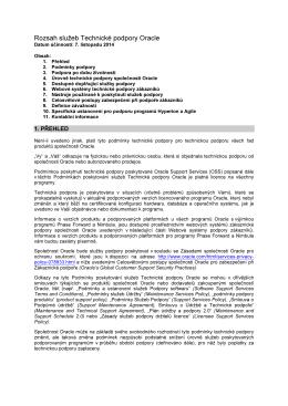Příloha č. 2 - Rozsah služeb Technické podpory Oracle