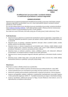 Kvalifikační kurz pro pracovníky v sociálních službách se zaměřením