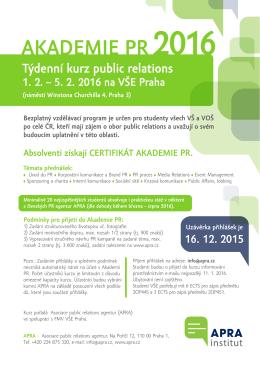 Akademie PR 2016 - Asociace Public Relations Agentur