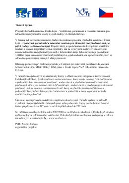 Projekt Obchodní akademie Česká Lípa – Vzdělávací, poradenské a