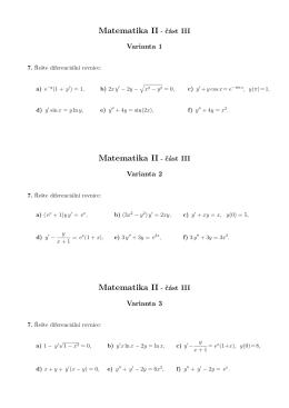 Matematika II - část III Matematika II - část III Matematika II
