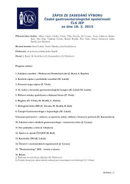 Zápis ze zasedání výboru ČGS dne 18. března 2015