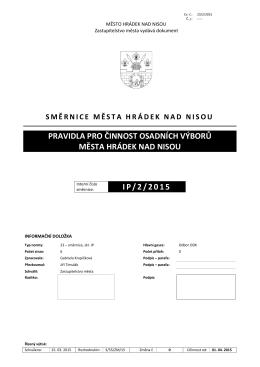 Pravidla pro činnost osadních výborů Města Hrádek nad Nisou