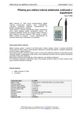 Přístroj pro měření měrné elektrické vodivosti v kapalinách