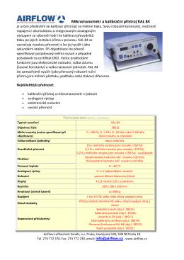 Mikromanometr a kalibrační přístroj KAL 84