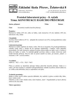 Hasící přístroj - Základní škola Želatovská, Přerov