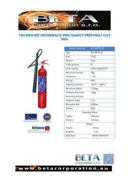 technické informace pro hasicí přístroj co2 5kg