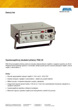 Datový list Vysokonapěťový zkušební přístroj PGK 25