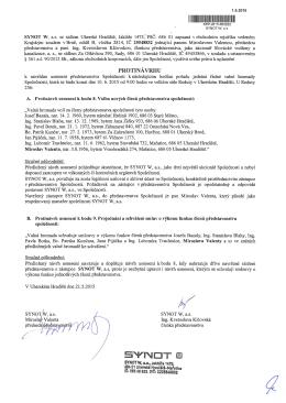 Protinávrh společnosti SYNOT W, a.s.