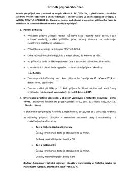 Průběh přijímacího řízení 2015/16