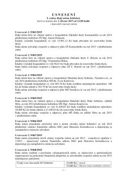 U S N E S E N Í - Město Soběslav
